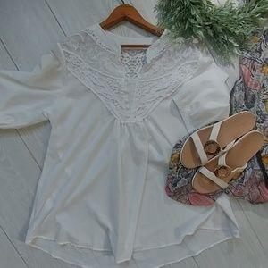 Southern Boutique white lace top blouse xxl